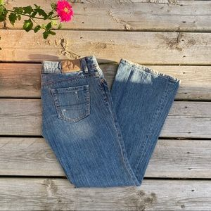 American Eagle Low Rise Flare Jeans Distressed